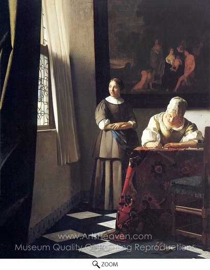 Jan Vermeer, Lady Writing a Letter with Her Maid oil painting reproduction