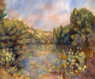 Lakeside Landscape painting reproduction, Pierre-Auguste Renoir