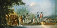 Landing at Mallicolo, 1774 painting reproduction, William Hodges