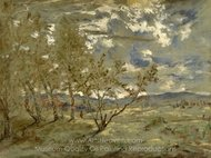 Landscape painting reproduction, Theodore Rousseau