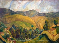 Landscape painting reproduction, Diego Rivera