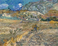 Landscape at Saint-R�my painting reproduction, Vincent Van Gogh
