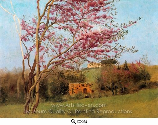 John William Godward, Landscape Blossoming Red Almond oil painting reproduction