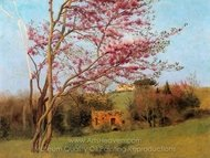 Landscape Blossoming Red Almond painting reproduction, John William Godward