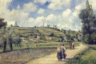 Landscape Near Pontoise, the Auvers Road painting reproduction, Camille Pissarro