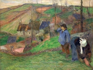 Landscape of Brittany painting reproduction, Paul Gauguin