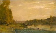 Landscape on the River Oise painting reproduction, Charles Daubigny