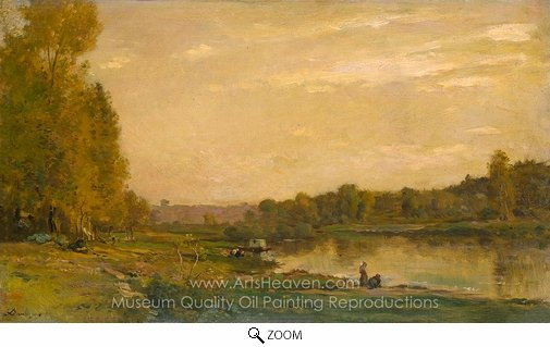 Charles Daubigny, Landscape on the River Oise oil painting reproduction