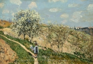 Landscape (Spring at Bougival) painting reproduction, Alfred Sisley