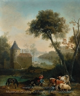 Landscape with a Castle in the Background painting reproduction, Jean-Baptiste Oudry