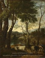Landscape with a Cowherd painting reproduction, Gaspard Dughet