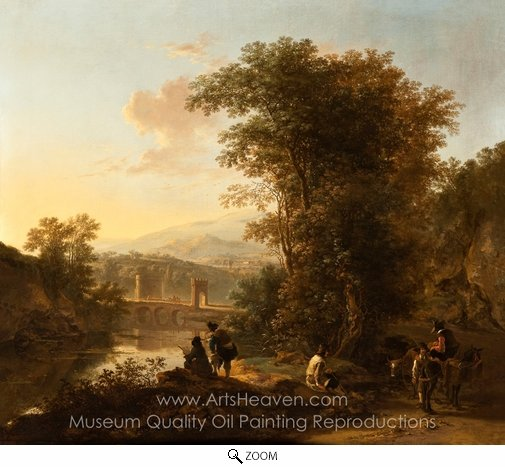 Jan Both, Landscape with a Draftsman oil painting reproduction