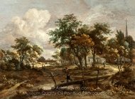 Landscape with a Footbridge painting reproduction, Meindert Hobbema