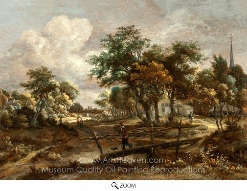 Meindert Hobbema, Landscape with a Footbridge oil painting reproduction