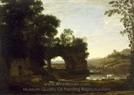 Landscape with a Rock Arch and River painting reproduction, Claude Lorraine
