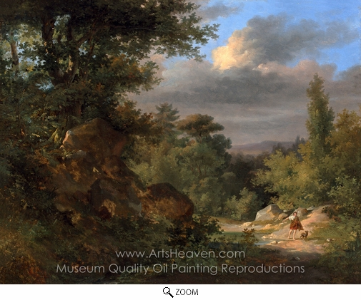 French Painter, Landscape with a Shepherd oil painting reproduction