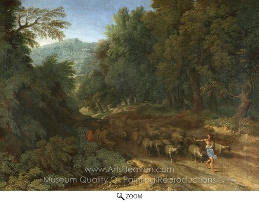 Gaspard Dughet, Landscape with a Shepherd and His Flock oil painting reproduction
