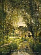 Landscape with a Sunlit Stream painting reproduction, Charles Daubigny