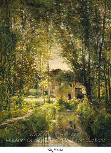 Charles Daubigny, Landscape with a Sunlit Stream oil painting reproduction