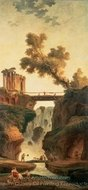 Landscape with a Waterfall painting reproduction, Hubert Robert