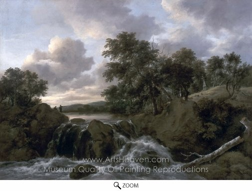 Jacob Van Ruisdael, Landscape with a Waterfall oil painting reproduction