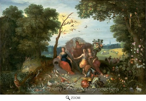 Jan Brueghel, Landscape with Allegories of the Four Elements oil painting reproduction