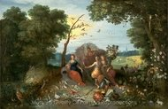 Landscape with Allegories of the Four Elements painting reproduction, Jan Brueghel
