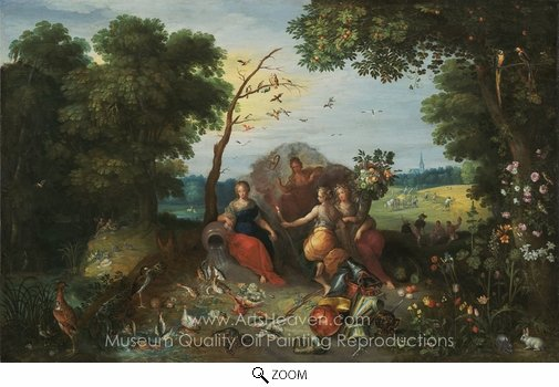 Frans Francken, Landscape with Allegories of the Four Elements oil painting reproduction