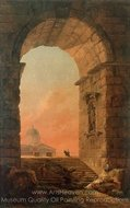Landscape with an Arch and the Dome of St. Peter's in Rome painting reproduction, Hubert Robert