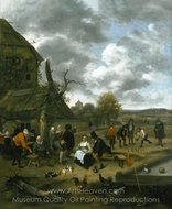 Landscape with an Inn and Skittles painting reproduction, Jan Steen