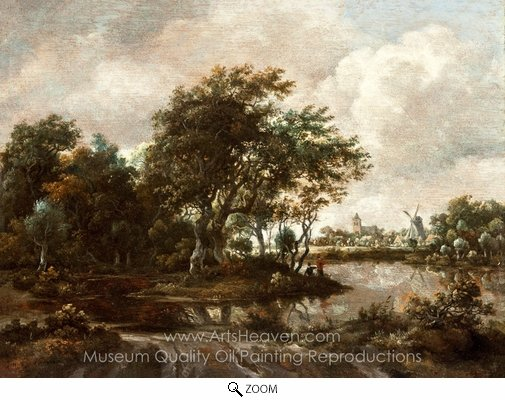 Meindert Hobbema, Landscape with Anglers and a Distant Town oil painting reproduction