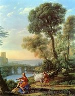 Landscape with Apollo and Mercury painting reproduction, Claude Lorraine