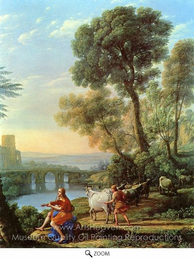 Claude Lorraine, Landscape with Apollo and Mercury oil painting reproduction