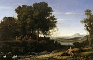 Landscape with Apollo and the Muses painting reproduction, Claude Lorraine