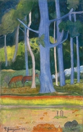 Landscape with Blue Trunks painting reproduction, Paul Gauguin