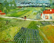 Landscape with Carriage and Train painting reproduction, Vincent Van Gogh