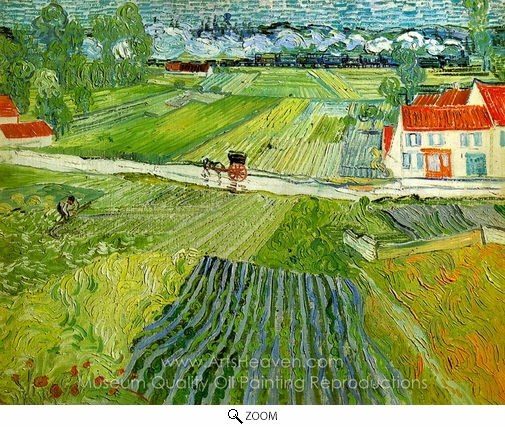 Vincent Van Gogh, Landscape with Carriage and Train oil painting reproduction