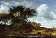 Landscape with Cattle and an Inn painting reproduction, Salomon Van Ruysdael
