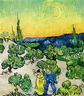 Landscape with Couple Walking and Crescent Moon painting reproduction, Vincent Van Gogh