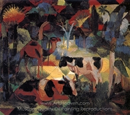 Landscape with Cows and Camels painting reproduction, August Macke