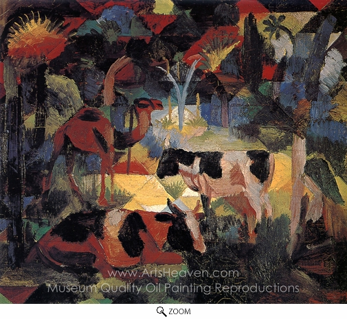 August Macke, Landscape with Cows and Camels oil painting reproduction