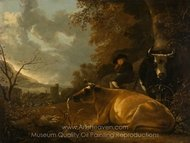 Landscape with Cows and Young Herdsman painting reproduction, Aelbert Cuyp
