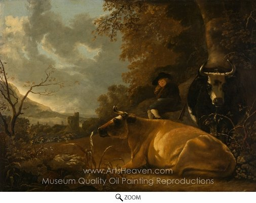 Aelbert Cuyp, Landscape with Cows and Young Herdsman oil painting reproduction