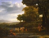 Landscape with Dancing Satyrs and Nymphs painting reproduction, Claude Lorraine