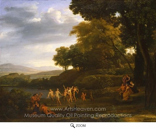 Claude Lorraine, Landscape with Dancing Satyrs and Nymphs oil painting reproduction
