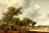 Landscape with Deer Hunters painting reproduction, Salomon Van Ruysdael