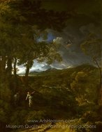 Landscape with Elijah and the Angel painting reproduction, Gaspard Dughet
