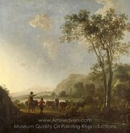 Landscape with Herdsman and Cattle painting reproduction, Aelbert Cuyp