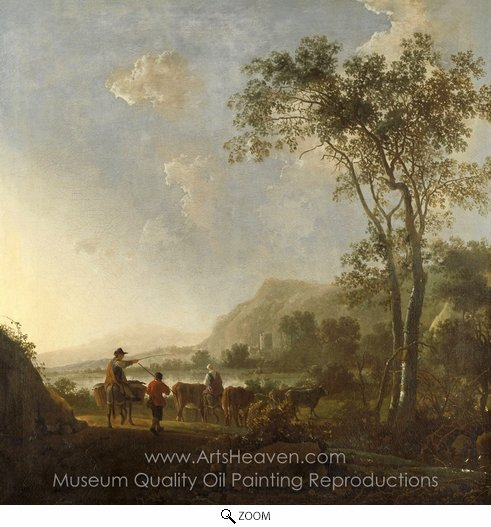 Aelbert Cuyp, Landscape with Herdsman and Cattle oil painting reproduction