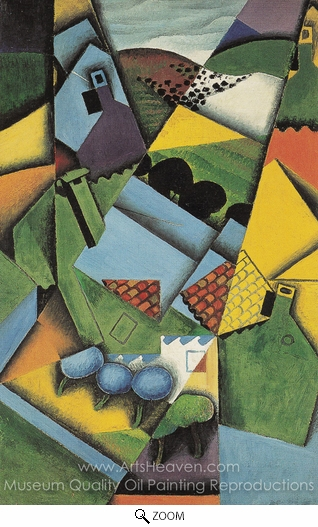 Juan Gris, Landscape with Houses in Ceret oil painting reproduction